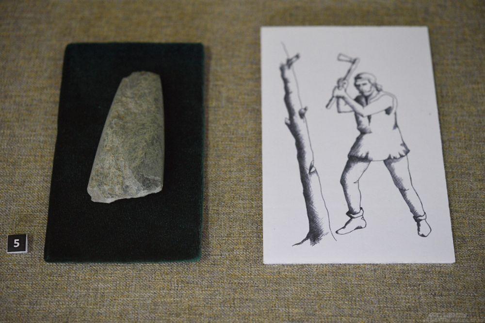 Тесло. Серпентинит. Шлифовка. III-II тыс. до н.э. Могильник Вочепшийсктй I.