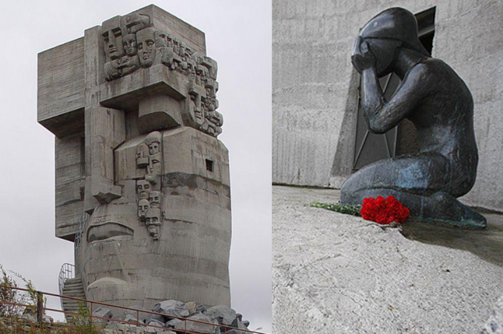 «Маска скорби» - монумент, посвященный памяти жертв политических репрессий. Он был открыт 12 июня 1996 года в Магадане. Высота центральной части мемориала – 15 метров. Это лицо человека, у которого из левого глаза текут слезы-маски. Правый глаз представляет собой окно-решетку. На другой стороне скульптуры – плачущая женщина. Внутри мемориала находится копия типичной тюремной камеры.