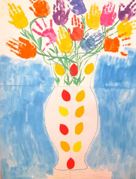 Участник №31. Коллективная работа детей средней группы «Колокольчики» детского сада №153. «Весенние цветы приносят радость»