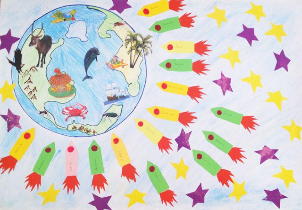 Участник №33. Коллективная работа детей старшей группы «Гномики» детского сада №153. «Земля наш общий дом»
