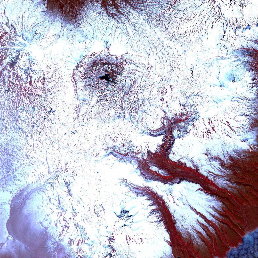 Инфракрасное изображение Долины гейзеров после оползня, 11 июня 2007 года.