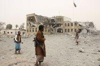 Разрушенное здание полиции в городе Саад.