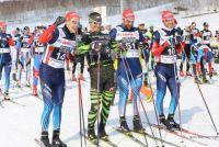Сборная России по лыжным гонкам на старте «Авачинского марафона».
