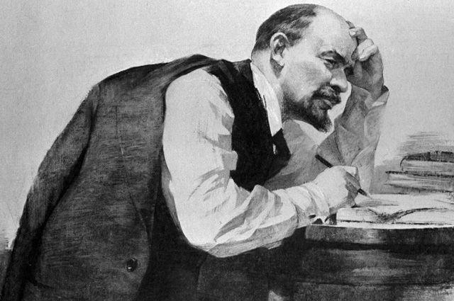 Репродукция картины Д. Б. Боровского и М. В. Клеонского «В. И. Ленин за работой».