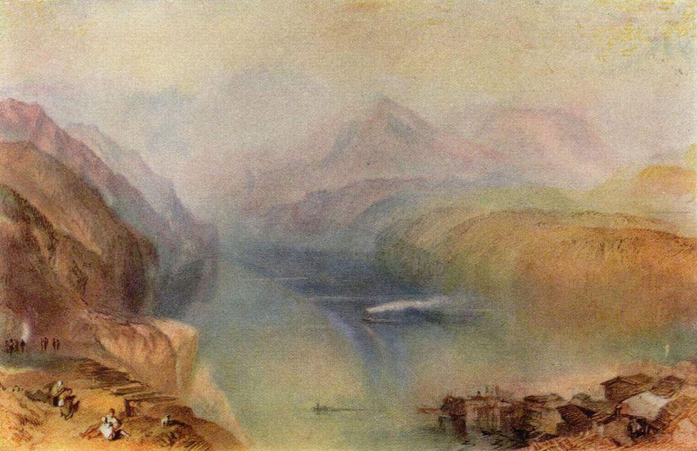 Тернер с особой внимательностью относился к изображению движения воды и воздуха, изучал архитектуру и геологию. Работы, написанные им акварельными красками, по силе выразительности достигают эффекта, который присущ работам, написанным маслом.