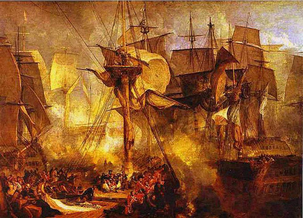 Особое место в творчестве Тернера занимают картины, посвященные Наполеоновским войнам. Среди них - «Трафальгарская битва» (1806-1807) и «Поле Ватерлоо» (1815).