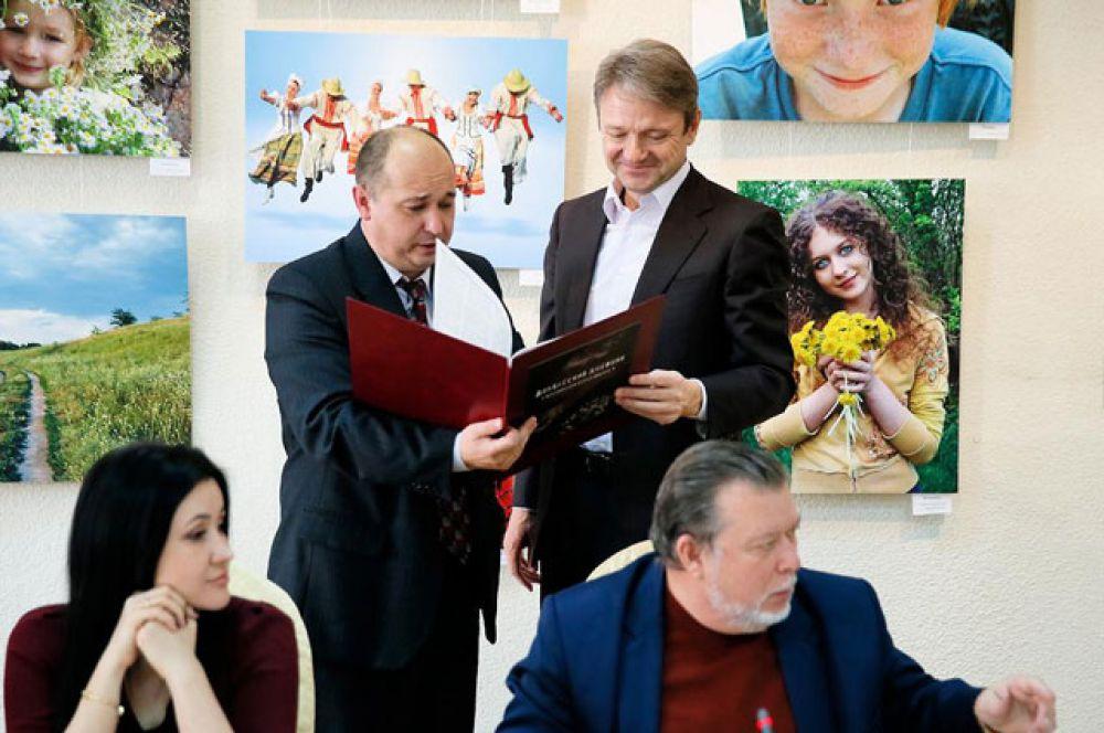 В День Российской Печати Александр Ткачев встретился с лучшими журналистами Кубани, январь 2015 год.