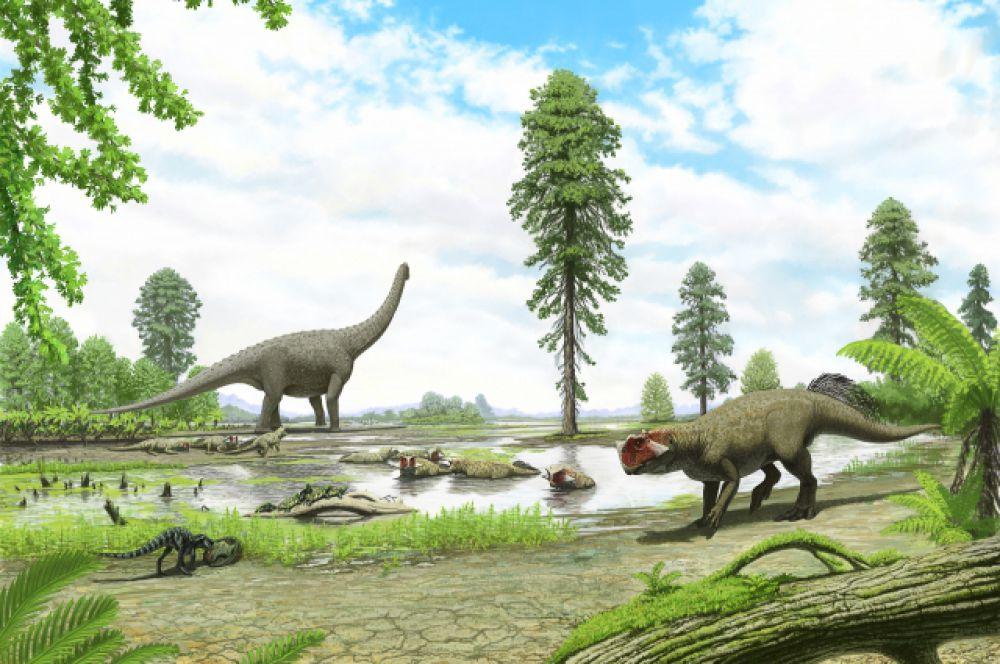 А этот пейзаж все должны узнать: это же окрестности знаменитого села Шестаково примерно 200 млн лет назад. На первом плане - пситтакозавр сибирский