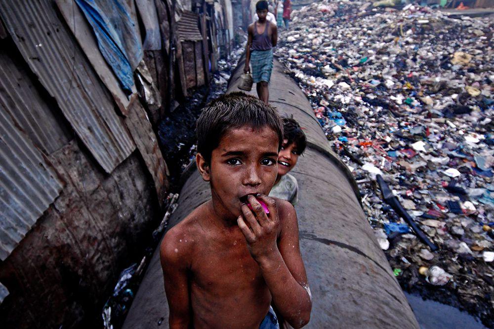Дхарави — это самые большие трущобы в Мумбае, а возможно, и мире. Прогулки по этим местам довольно опасны. В Дхарави на всей территории проживают около 4 (по другим данным 6) миллионов человек. Здесь есть школы, фабрики, мечети, пекарни, церкви, производства, и, конечно же, огромные помойки. Дома сколочены из чего попало, покрыты чем попало. Часто в одном доме площадью 10-11 кв.метров живут три поколения, т.е. порядка 8-10 человек.
