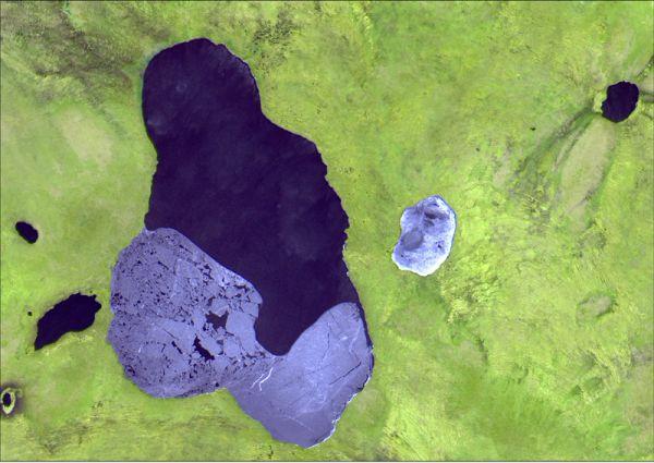 Снимок со спутника SPOT-5, дата 06.05.2011. Пространственное разрешение 2,5 м/пиксел, синтез в натуральных цветах. Большое Камское болото, озеро Большой Кумикуш.