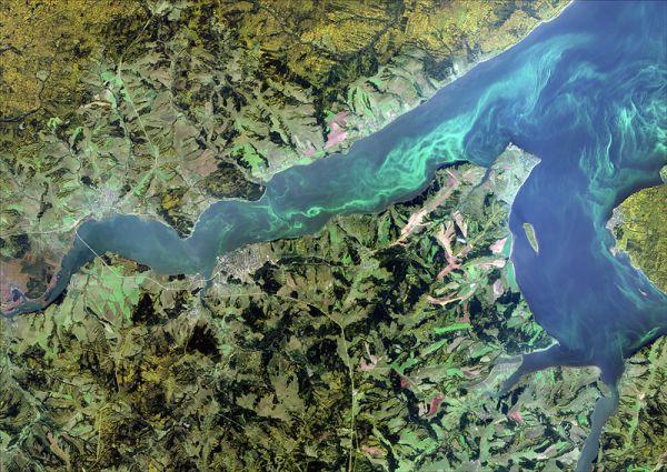 Снимок со спутника SPOT-6, дата 23.09.2014. Пространственное разрешение 1,85 м/пиксел, синтез в натуральных цветах. Обвинский залив, Камское водохранилище.