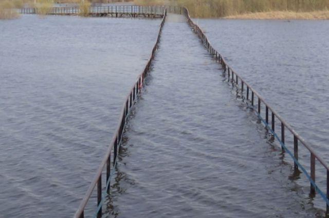Мост обрушился в результате паводка.