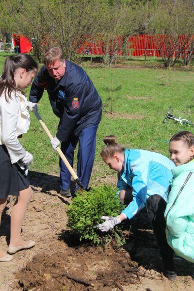 Глава Автозаводского района Владимир Солдатенков сажает памятное дерево