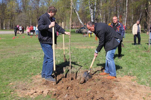 Генеральный директор компании «Корос-Аква» Андрей Дудкин посадил дерево на аллее в честь юбилея Автозаводского парка