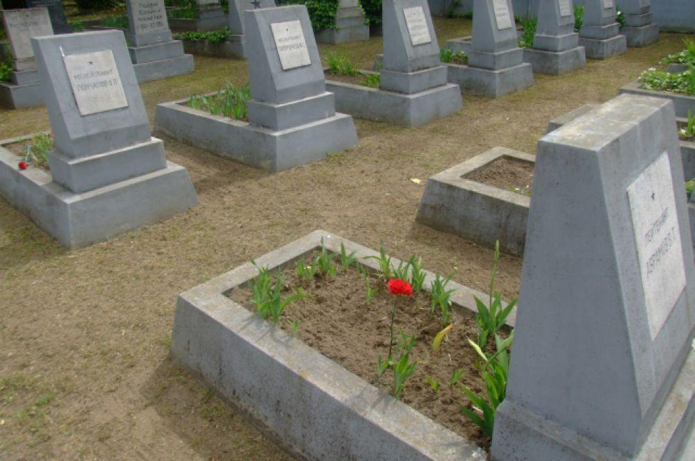 Другие принесли цветы к могилам солдат.