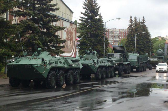 Военная техника в центре Калининграда.