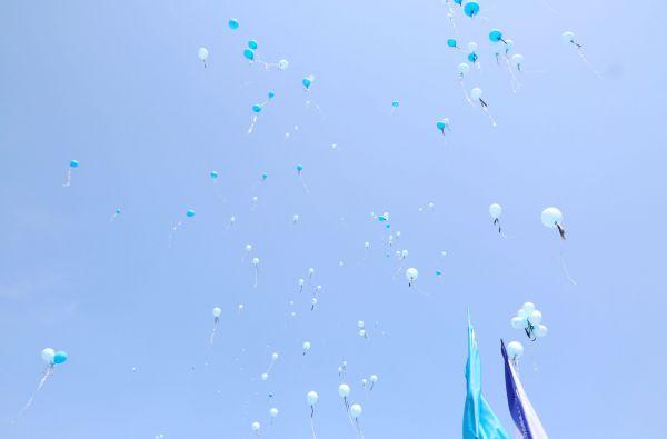 В конце мероприятия собравшиеся запустили в небо шары.