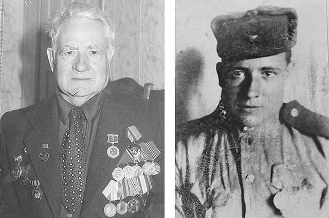 Пётр Недашковский в День Победы 2006 года и в 1944-м.