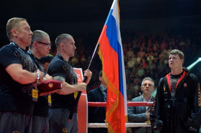 Александр Поветкин (Россия) перед началом боя за титул чемпиона WBC Silver в супертяжёлом весе.