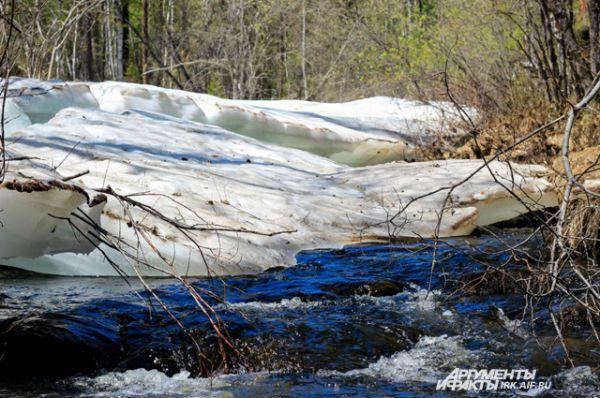 Многие реки берут начал ов горах и воды их очень холодные. Лед здесь тает медленно.