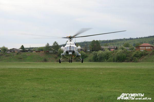 «Сплавное» утро началось с прибытия вертолета МЧС.
