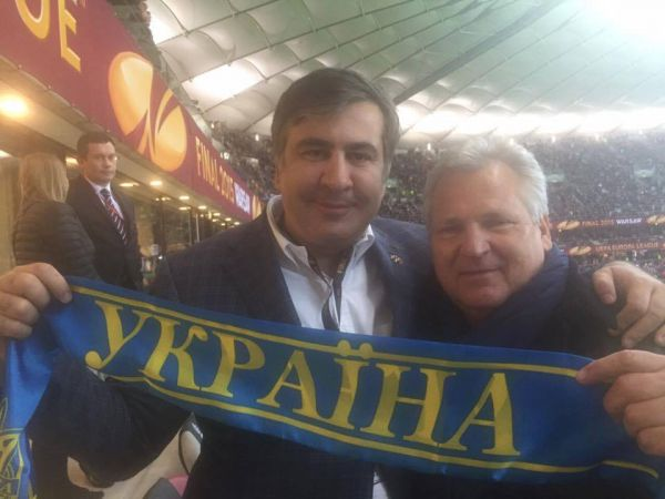 Михаил Саакашвили: «Президент Александр Квасневский вместе с нами болел за Украину. Днепр –молодец!»