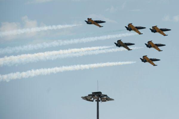 Выступление пилотажной группы «Русь» на самолетах Л-39 «Альбатрос».