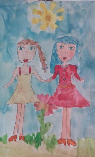 Моей дочери Ане нравится Мальвина, потому что она добрая, отзывчивая и красивая девочка. Рисунок называется «Мальвина и Аня».
