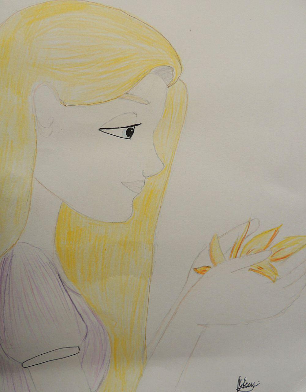 Рисунок посвящен Рапунцель, главной героине сказок братьев Гримм.