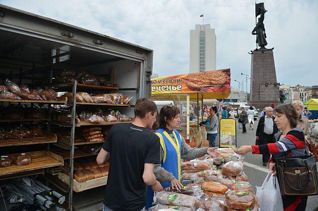 Продовольственная ярмарка во Владивостоке.