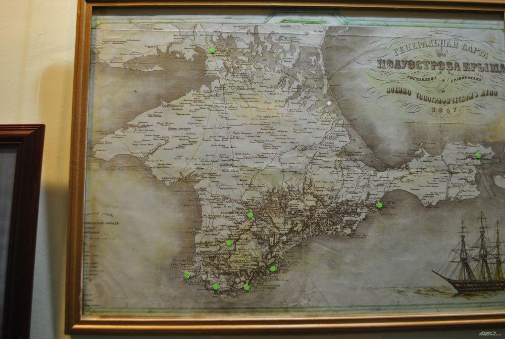 Маршрут следования Раевских с Пушкиным по Крыму.