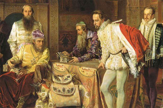 Фрагмент картины Александра Литовченко «Иван Грозный показывает сокровища английскому послу Горсею» (1875 год).