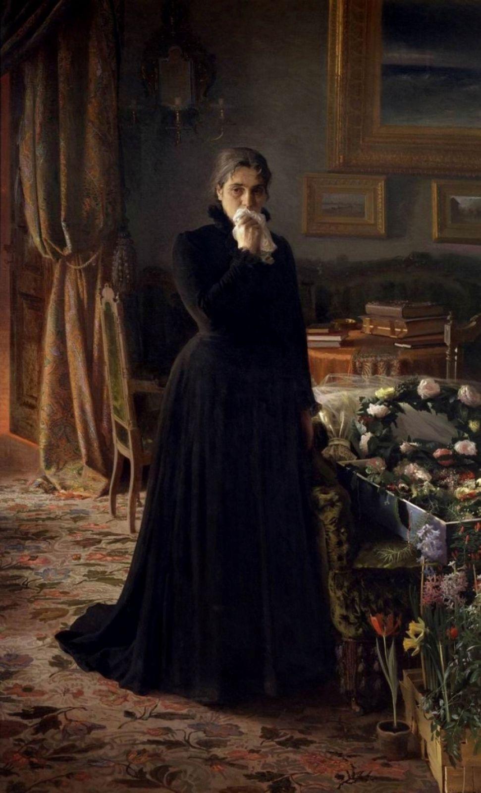 Крамской умер в 1887 году в Петербурге в своей мастерской за работой над портретом доктора К.А.Раухфуса. Похоронен на Смоленском кладбище, а в 1987 его могила была перенесена в Некрополь Александро-Невской Лавры.