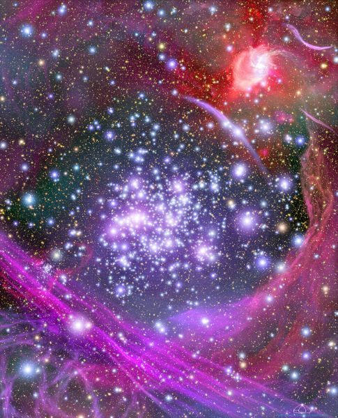 Скопление Арки невероятно яркий объект, но несмотря на свою яркость, кластер нельзя увидеть невооруженным глазом, поскольку его видимый свет полностью скрывают гигантские облака пыли в этом регионе. Арки можно назвать настоящим монстром. В нем тысячи звезд, из которых, минимум, 160 юных и очень горячих. Они во много раз крупнее Солнца и разместились на крохотном участке, радиус которого не превышает нескольких световых лет.