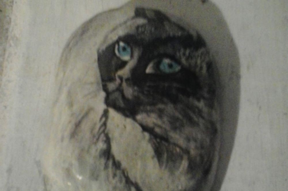 Кошка. Роспись по камню.