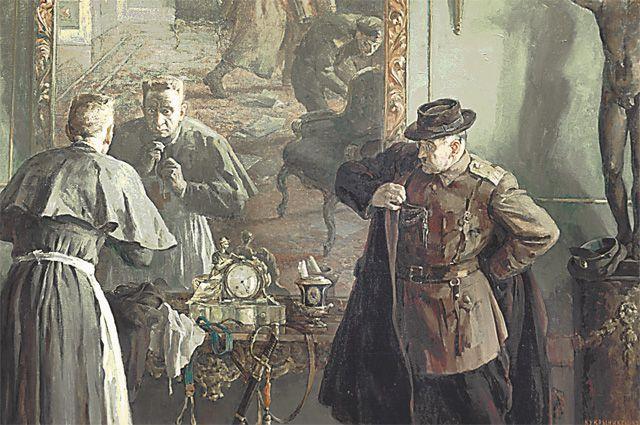 Керенский утверждал, что в женском платье из Зимнего дворца не убегал. Картина Кукрыниксов «Последний выход Керенского» (1957 г.)
