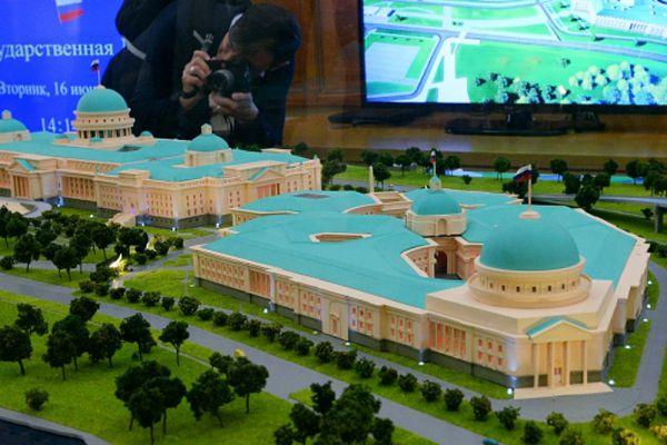 Макет ООО «Стройгазкомплект» на презентации макетов нового Парламентского центра в Государственной думе в Москве.