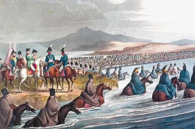 Войска Наполеона форсируют Неман 12 июня 1812 года. Рисунок Джона Кларка (1816 г.)