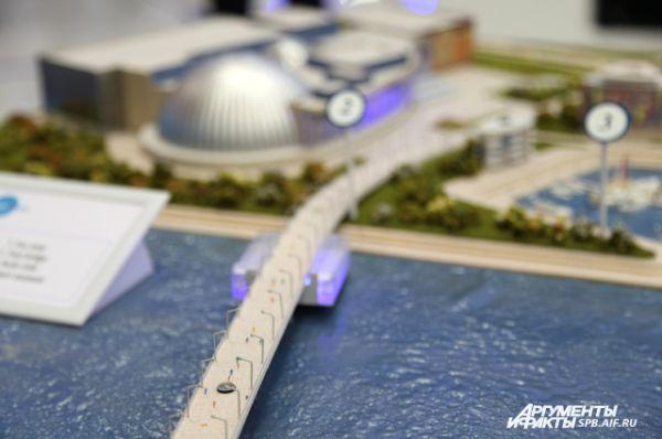 Проект представляет собой комплекс сооружений: мост, яхт-клуб, международный футбольный центр и фанзона.