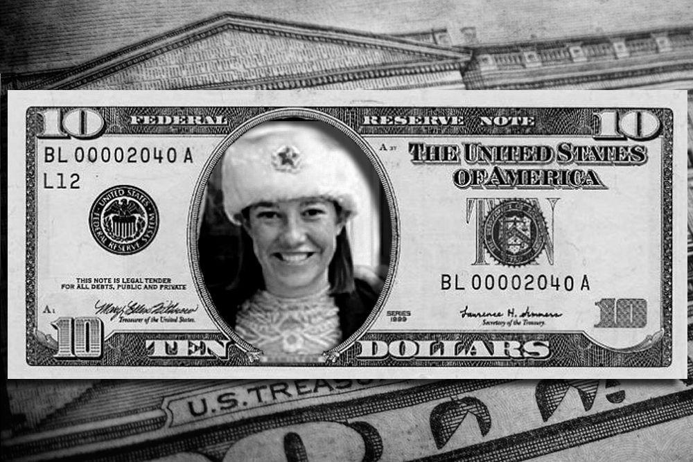 Лицо Госдепа США Джен Пскаи. Про нее знают уже во всем мире, потому было бы логично запечатлеть ее в веках на банкноте. Кроме того, это было бы просто забавно.