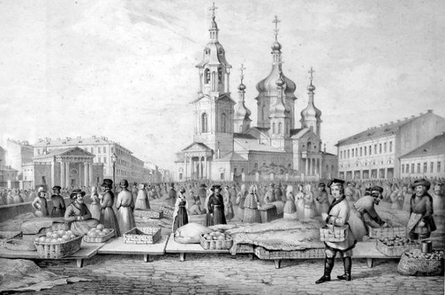 Сенная площадь в Петербурге в XIX веке