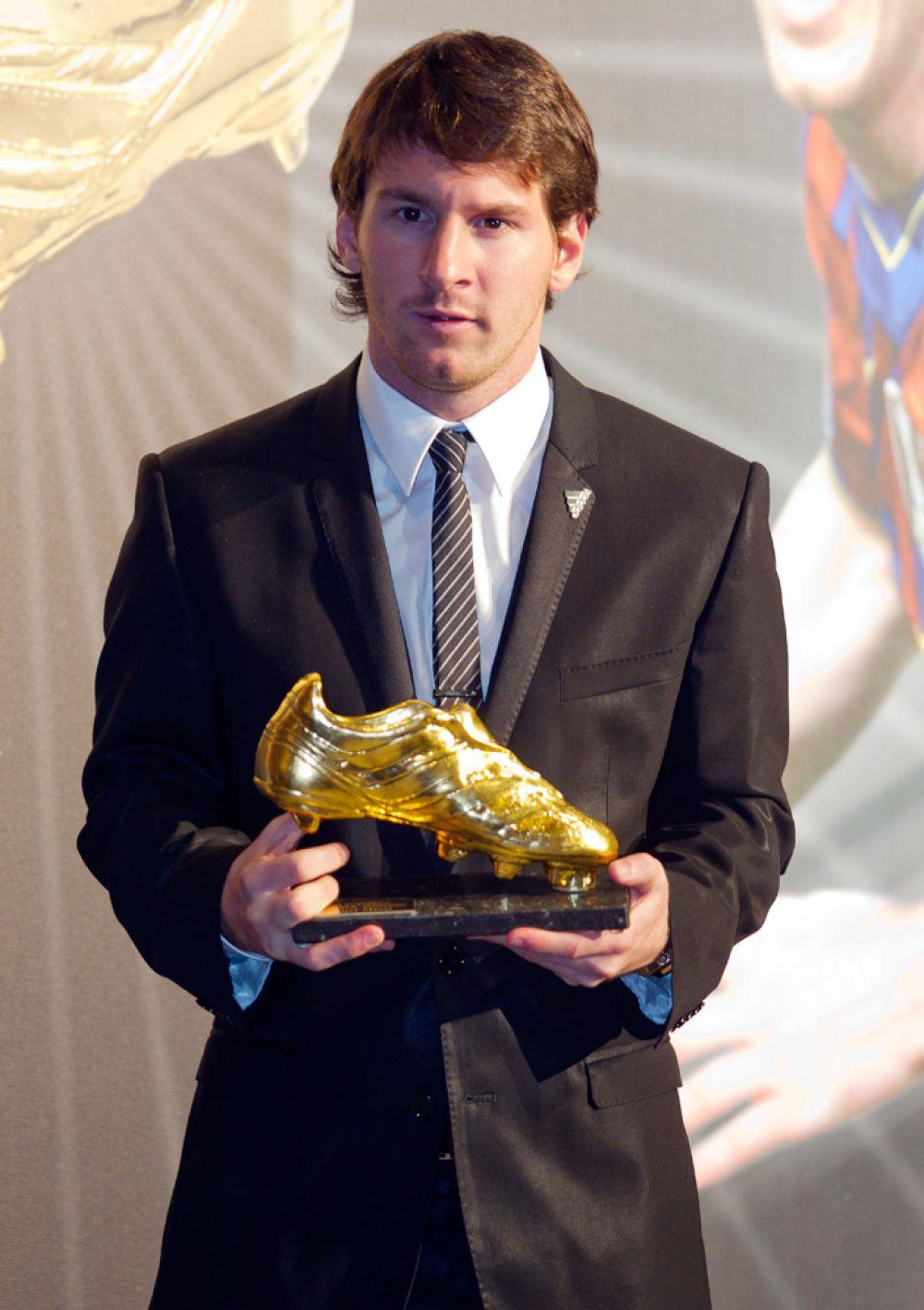 Месси на церемонии вручения «Золотой бутсы» в 2010 году.
