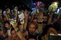 Зрители на концерте группы Placebo в СК «Олимпийский» в Москве.