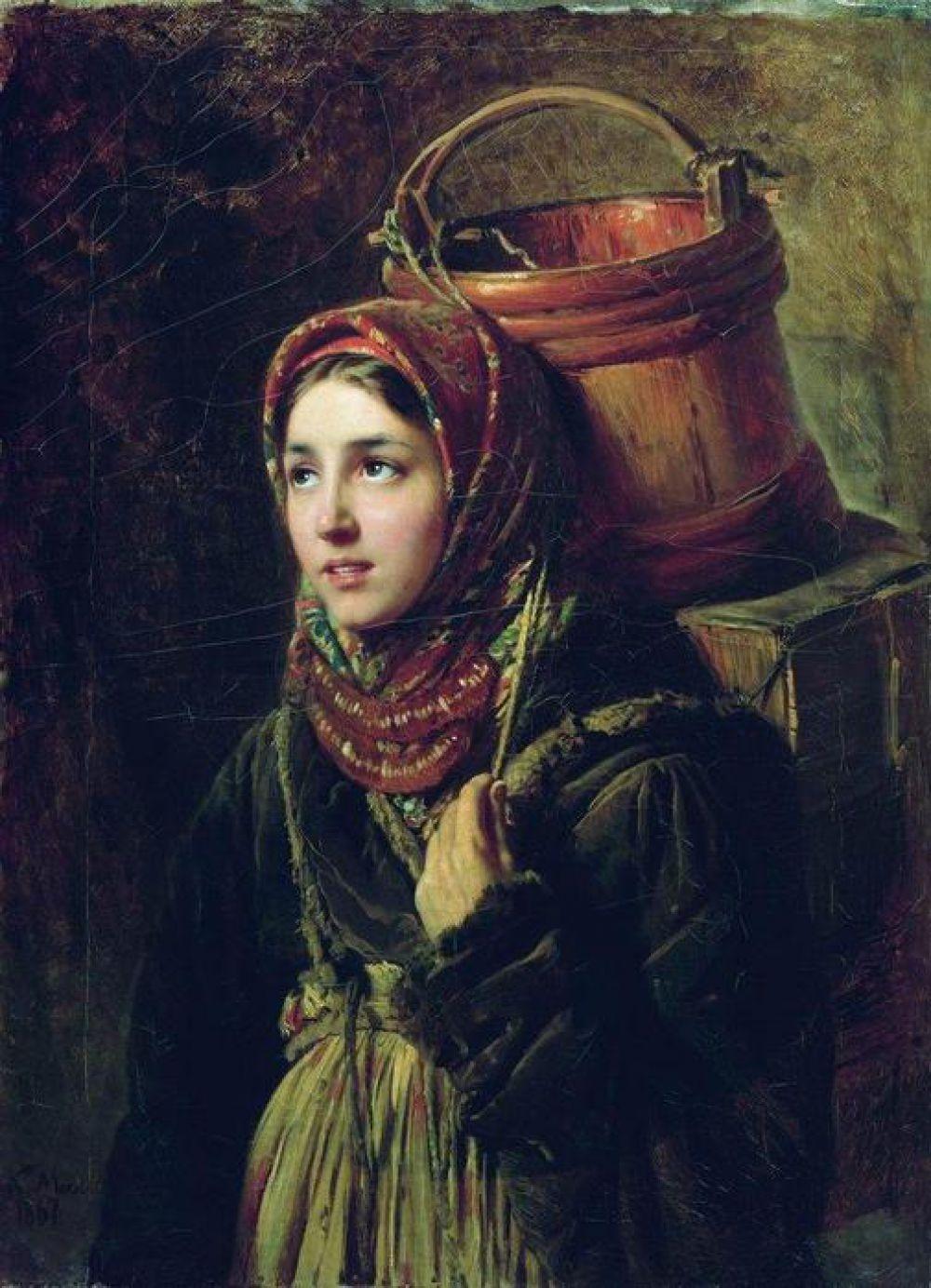 После Академии Маковский присоединился к группе художников, которую возглавлял Иван Крамской. Художник увлекся темой повседневной жизни. Так появились полотна «Вдовушка» (1865) и «Селедочница» (1867), «Маленькие шарманщики у забора зимой» (1868), «Разговоры по хозяйству» (1868).