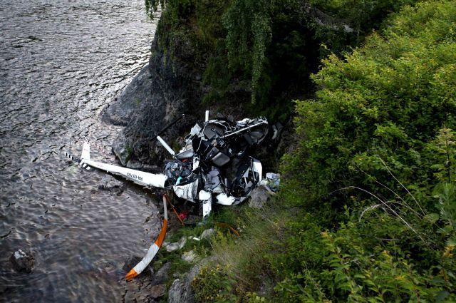Кадр с места крушения вертолета.