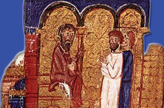 Михаил Керуларий сидит на троне. Из летописи Иоанна Скилицы.