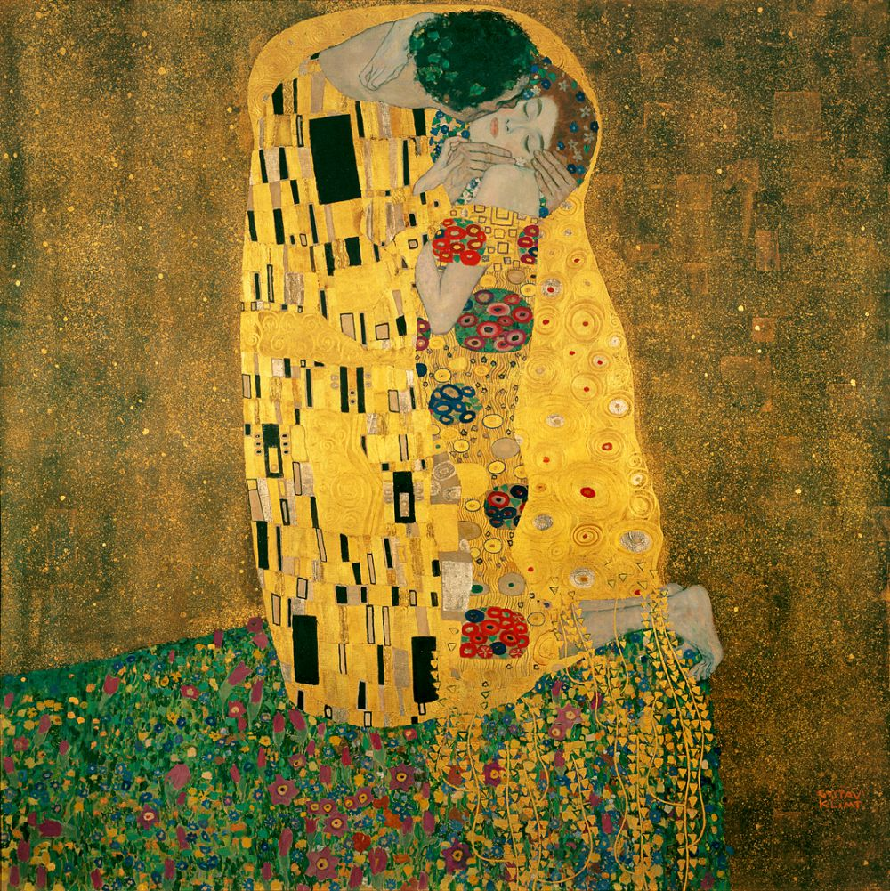 «Поцелуй» (1907—1908) - вероятно, самая известная работа Густава Климта. Она изображает целующуюся пару в разных оттенках золотого на бронзовом фоне.