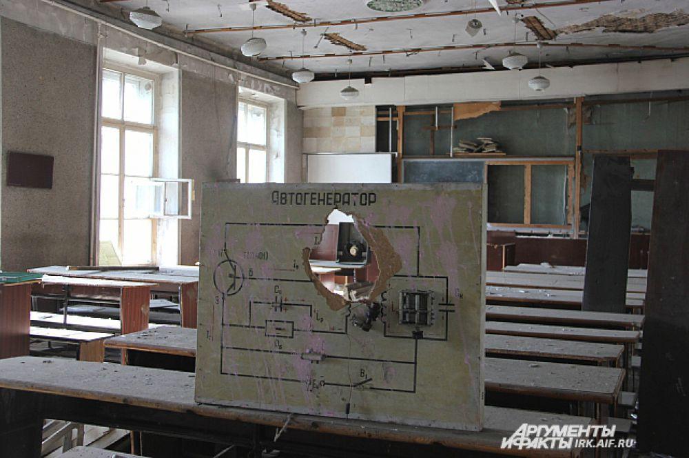 В классах когда-то стояли летные установки.