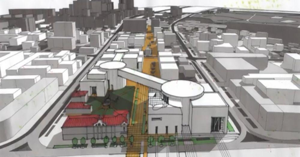 Торговые центры планируют соеденить воздушными переходами.