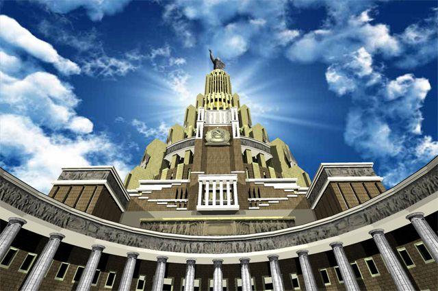 Дворец советов (Дворец Верховного совета СССР). Выполнен в 3D Max по проекту 30-х годов.